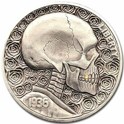 "Hobo Nickel Coin 1936 Buffalo ""Roses"" 24k Gold Hand Engraved by Gediminas Palsis"