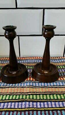 """Vintage Pair Of Wooden Candlesticks Treen Turned Wood 6.3/4"""" tall.( 17 cm )"""
