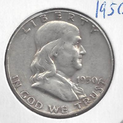 1950 P Franklin half dollar Nice Circulated U.S. 90% silver coin