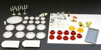 Lot Sindy Doll Dishes Accessories  50+ Platter Glasses Butter Candlesticks Vtg