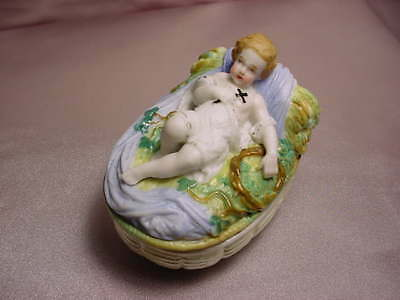 Staffordshire Box With A Baby In A Basket