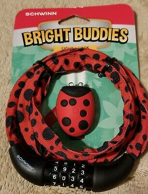 with LED headlight ladybug 4 digit New Schwinn bicycle COMBINATION LOCK cable