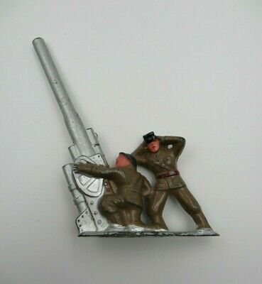 Vintage Manoil Barclay Hollowcast Toy/ 2 Soldiers Shooting Anti Aircraft Gun