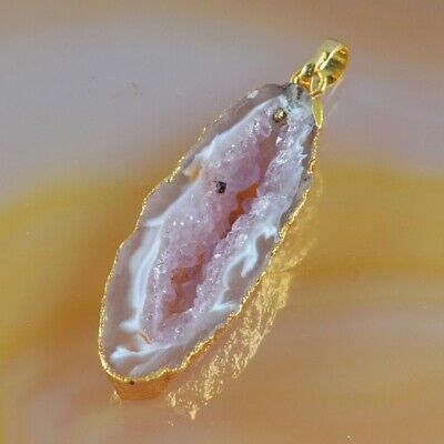 Natural Agate Druzy Geode Pendant Bead Gold Plated B077897
