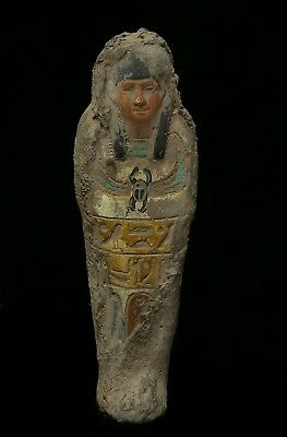 ANCIENT EGYPT EGYPTIAN STATUE Antique Hieroglyphics Mummy Shabti Carved Stone BC