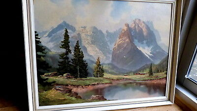 Arno Lemke framed painting -print? Landscape of mountains -Alps