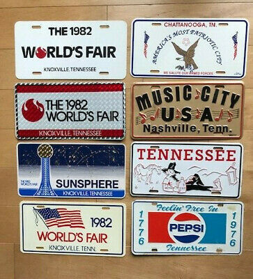 1976 1982 TENNESSEE front booster license plates 8 PLATES Pepsi Cola Worlds Fair