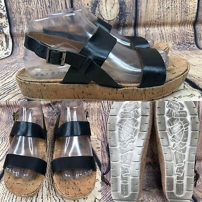 ade7004c010 Womens KORKS by KORK EASE Q32203 Black Leather Ankle Strap Sandals SIZE 8.5  M