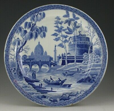 "Antique Pottery Pearlware Blue Transfer Spode Tiber Rome 10"" Plate 1820"