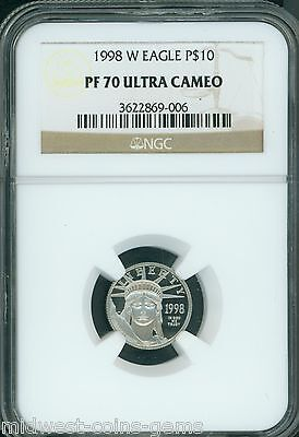 1998-W $10 PLATINUM EAGLE 1/10 Oz. STATUE OF LIBERTY NGC PF70 PROOF PR70