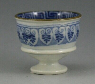 Antique Pottery Pearlware Blue Transfer Greek Series Egg Cup 1815 Not Spode