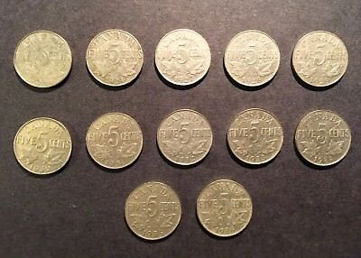 LOT OF 12 pcs CANADIAN NICKELS 5 cents 1922, 1924,1927-1936 GEORGE V Canada Gift