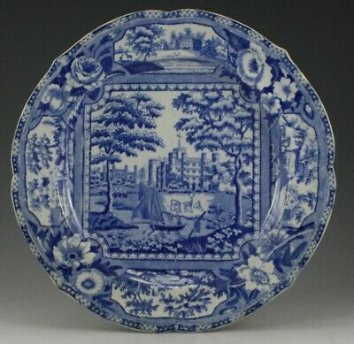 "Antique Pottery Pearlware Blue Transfer Ridgway Angus Seat 10"" Plate 1815"