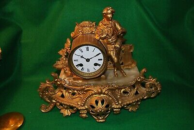 Rare Antique French Spelter Mantle Clock.