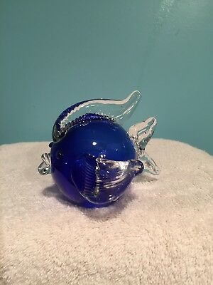 Hand Blown Glass Fish Paperweight