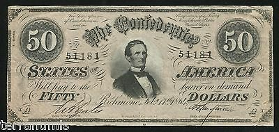 g753 50 dollars 1864 Confederate States of America Civil War Currency Note CSA
