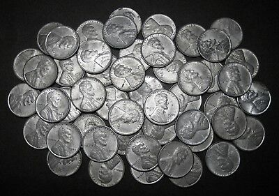"""Roll"" of 50 Loose 1943-P Lincoln Steel Wheat Cents Pennies"