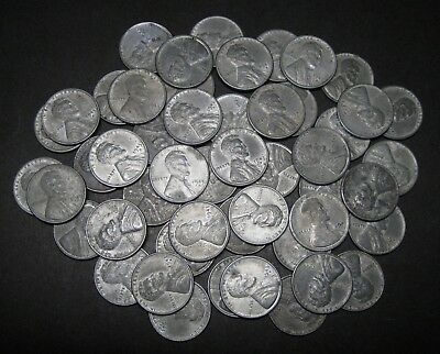 "1943 Mixed PDS Lincoln Steel Wheat Cents Pennies, ""Roll"" of 50 Loose"