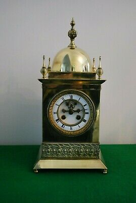 Antique French Solid Brass Mantle Clock