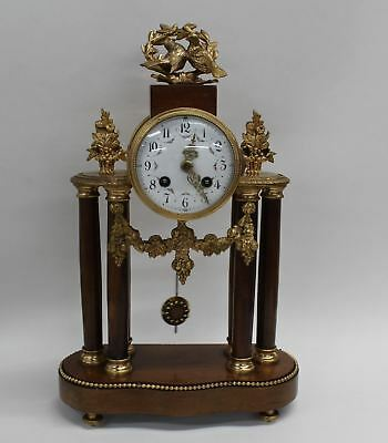 MARTI MEDAILLE D'OR Antique French Baroque Style Gilt & Wood Mantelpiece Clock