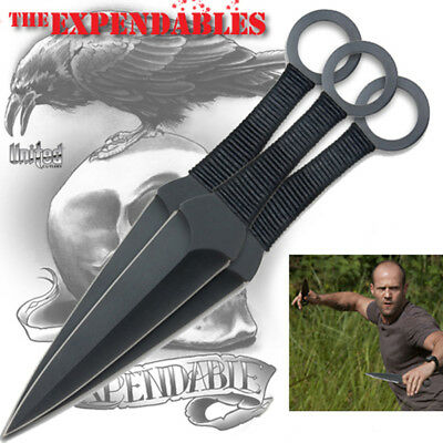 """The EXPENDABLES - 3 piece 12"""" KUNAI THROWING KNIFE SET w/Sheath - United Cutlery"""