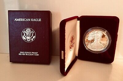 1986 American Eagle $1 Dollar Coin - 99.9% Silver Proof (w/Case & Box)