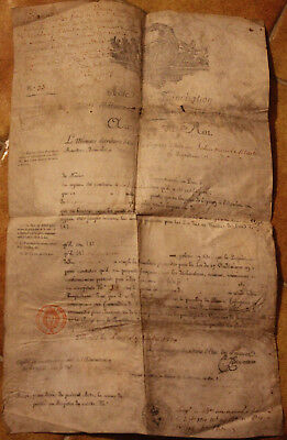 1816 XXL manuscript parchment ship becoming french cerificate maritime minister