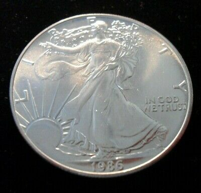 1986 American Silver Eagle .999 Pure One Ounce UNC BU MS #1