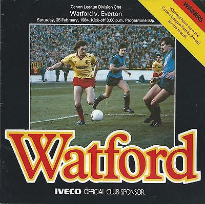 Watford v Everton 25th February 1984 League Division One Programme