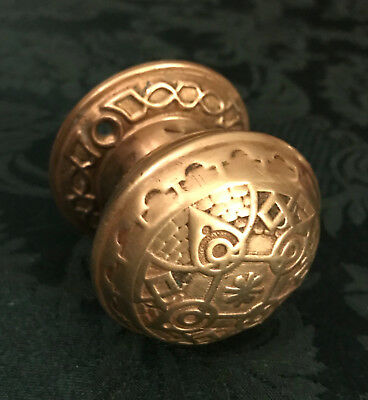 Antique Vintage Victorian Eastlake Solid Brass Door Knob With Ornate Back Plate