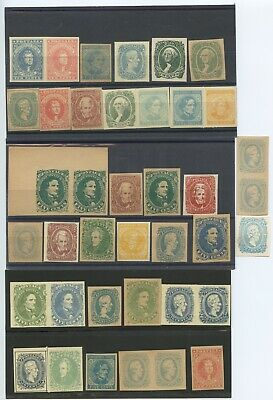 Lot of 39 Confederate Facsimile Postage Stamps, Mint
