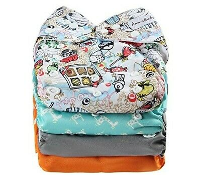 Anmababy 4 Pack Adjustable Size Microfiber Pocket Cloth Diapers