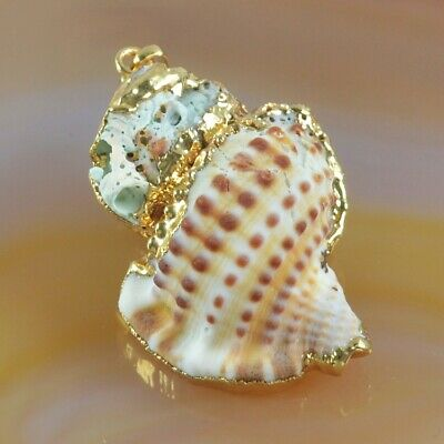 Beach Natural Conch Sea Shell Pendant Bead With Gold Plated Cap B077957