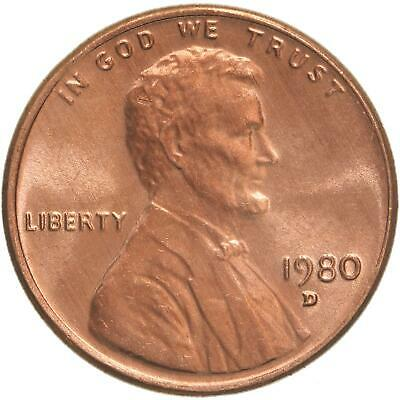 1980 D Lincoln Memorial Cent Choice BU Penny US Coin