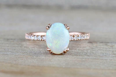 Vintage Women 14K Rose Gold Filled Wedding Ring White Fire Opal Gemstone Sz 7