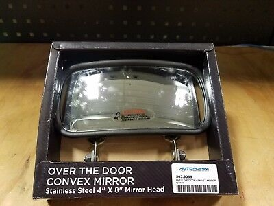 "Over-The-Door Convex Mirror Stainless Steel Universal Fit  4""x 8"" (2-3/4"" Mount)"