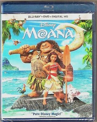 Authentic Disney Moana Blu-ray + DVD + Digital HD Movie BRAND NEW