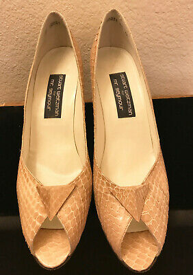 c6f8e2c27d68 Stuart Weitzman for Mr Seymour Open Toe Snakeskin High Heels Beige Size 11  AA