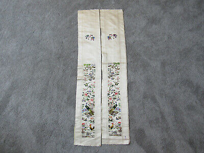 Stunning old Chinese large pair of embroidered silk sleevebands with birds (T10)