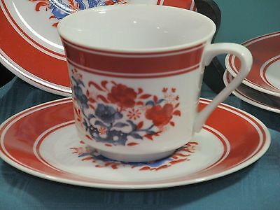 5 Seymour Mann Nara Porcelain Cups and Saucers Red and White Set of 5