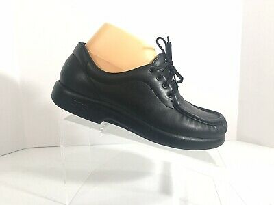 f6b15b06b4ae SAS Shoes Siesta Black Leather Moc Toe Lace Up Comfort Oxfords Loafers  Women s 8