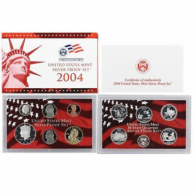 2004 US Mint SILVER Proof Set in Red Box with COA - 11 Coins Clean Blemish-free