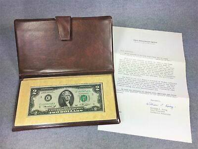 1976 United States $2 Bicentennial Bill First Day of Issue in Display