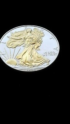 1998 - US Silver American Eagle Dollar Coin,  Gold Embossed Lady Liberty