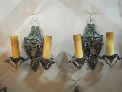 Pair Of 1930'S Cast Iron Gothic Style Sconces