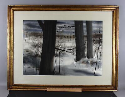 Lrg John Michael Angelini, New Jersey Snow Winter Landscape Watercolor Painting