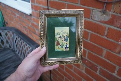Vintage Hand Painted Plaque Asian/ Oriental? Mosaic Inlaid Wooden Framed