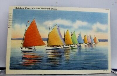 Massachusetts MA Rainbow Fleet Martha Vineyard Postcard Old Vintage Card View PC