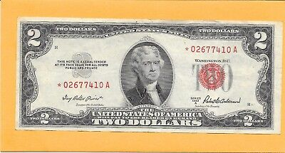 1953A Usa Star Note Red Seal 2 Dollar Bill * 02677410 A (Nice)