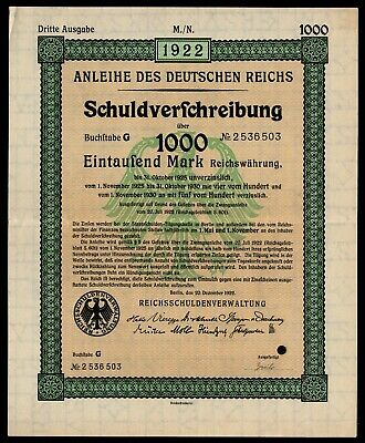 1922 Germany Weimar Republic 1000M Forced Loan Bond 3rd Issue Inflation Era VF+